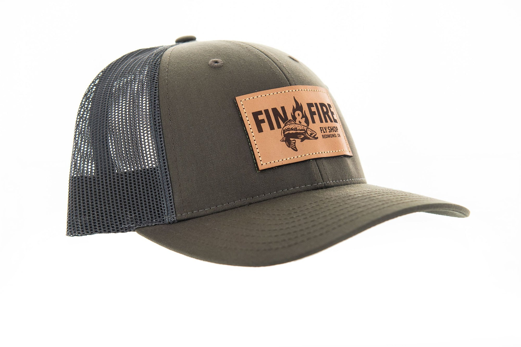 Fin & Fire Logo Hat: Chocolate Chip/Grey