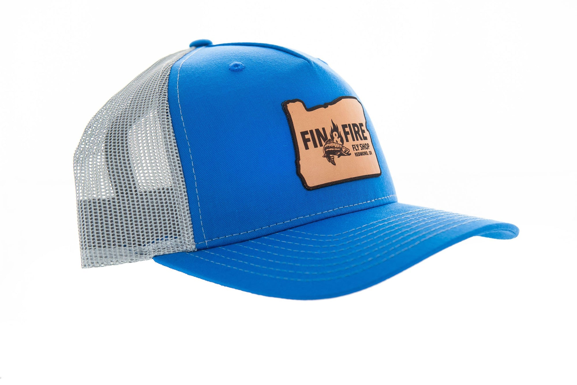 Fin & Fire Logo Hat: Cobalt Blue/Grey