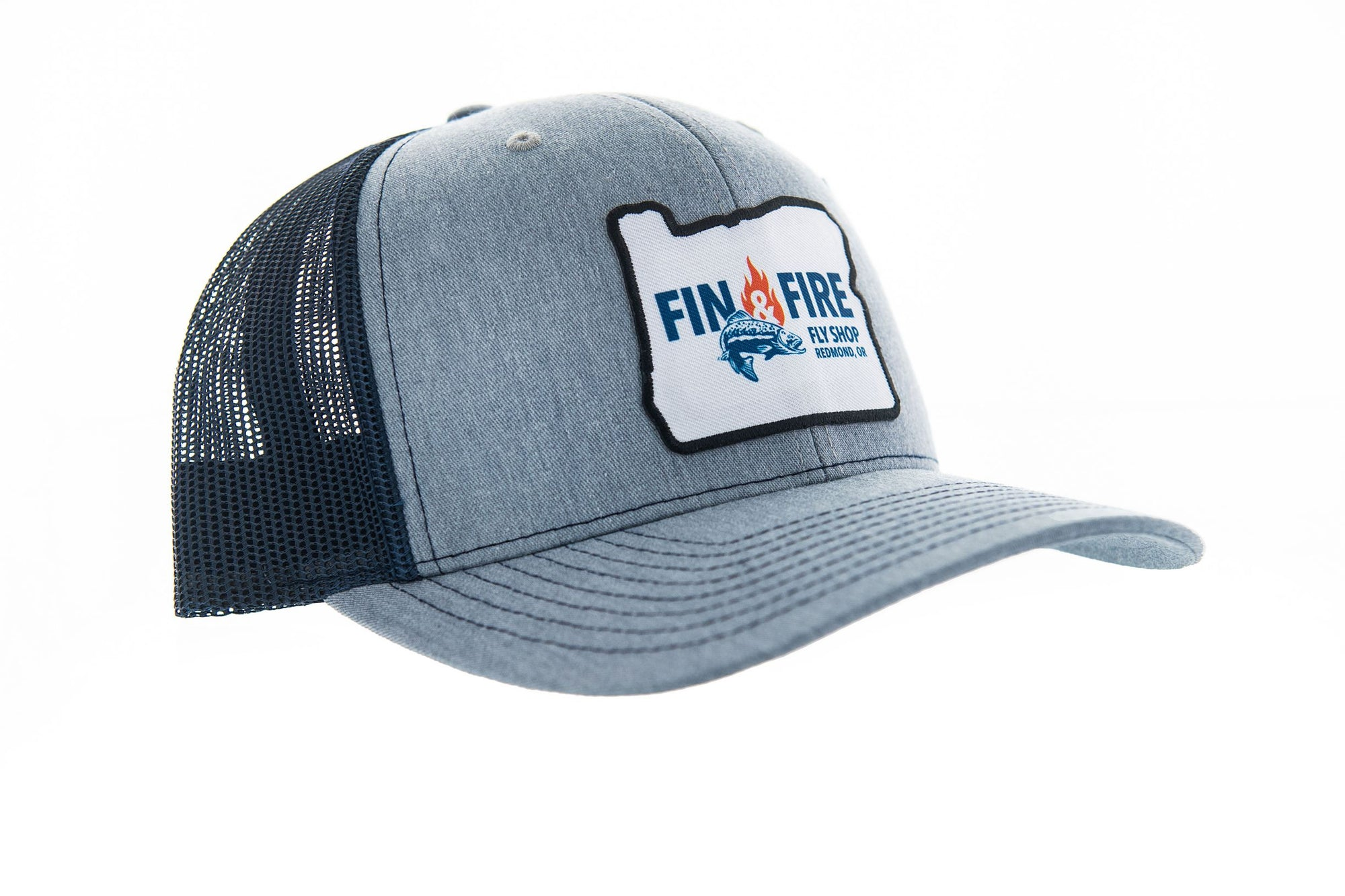 Fin & Fire Logo Hat: Heather Grey/Navy