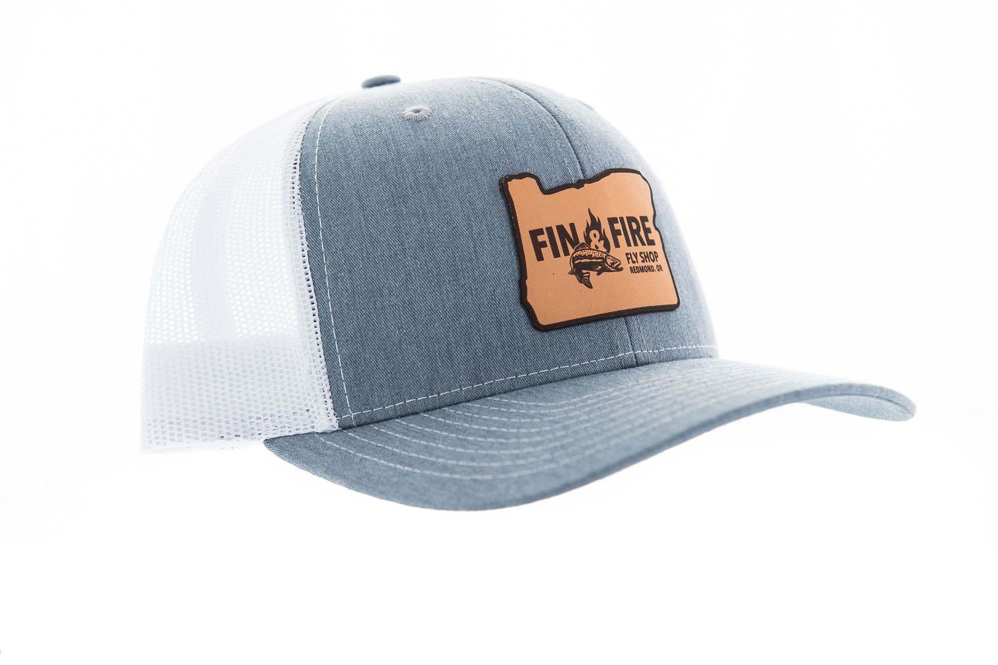 Fin & Fire Logo Hat: Heather Grey/White