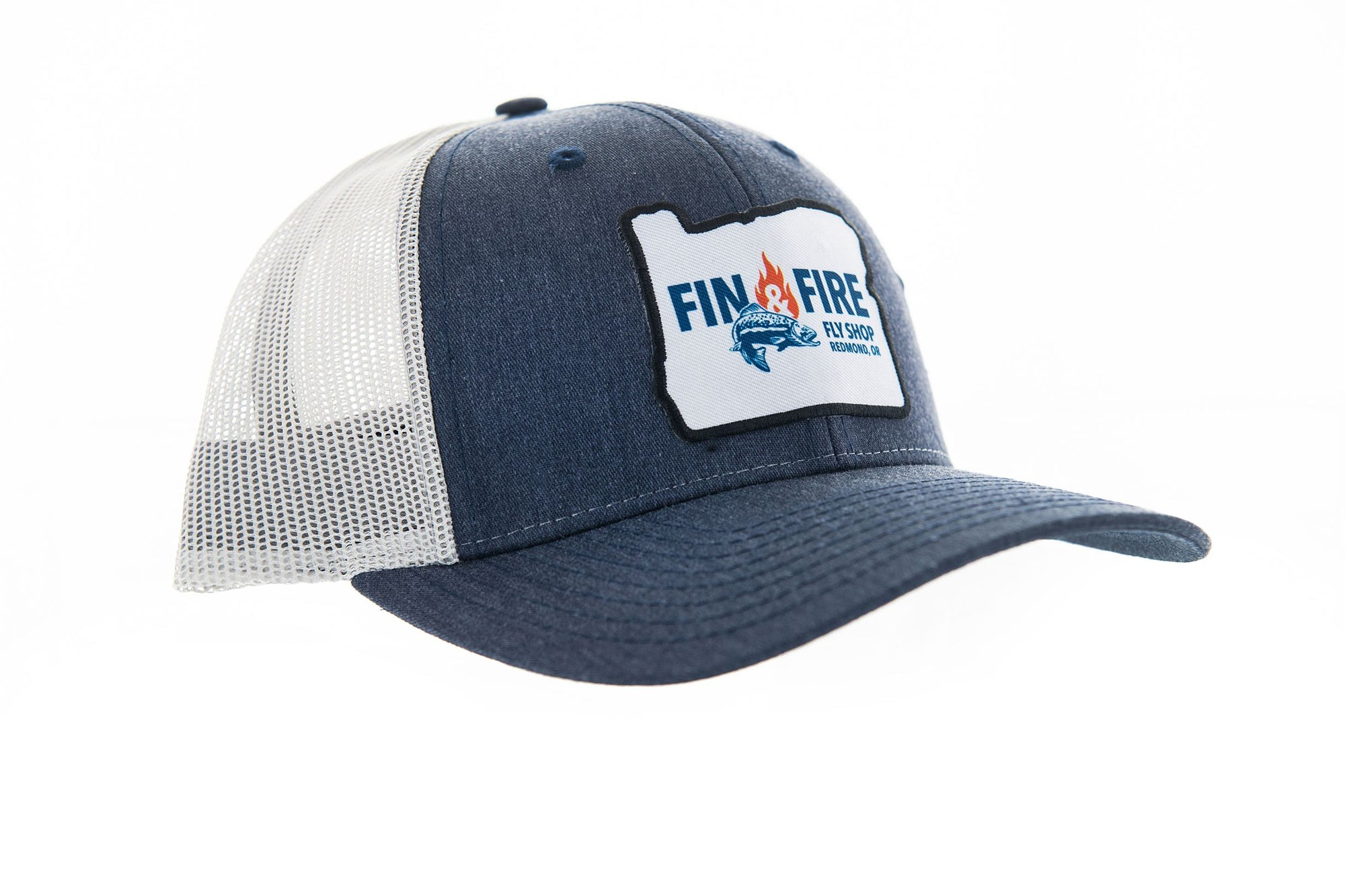 Fin & Fire Logo Hat: Navy Heather/Grey