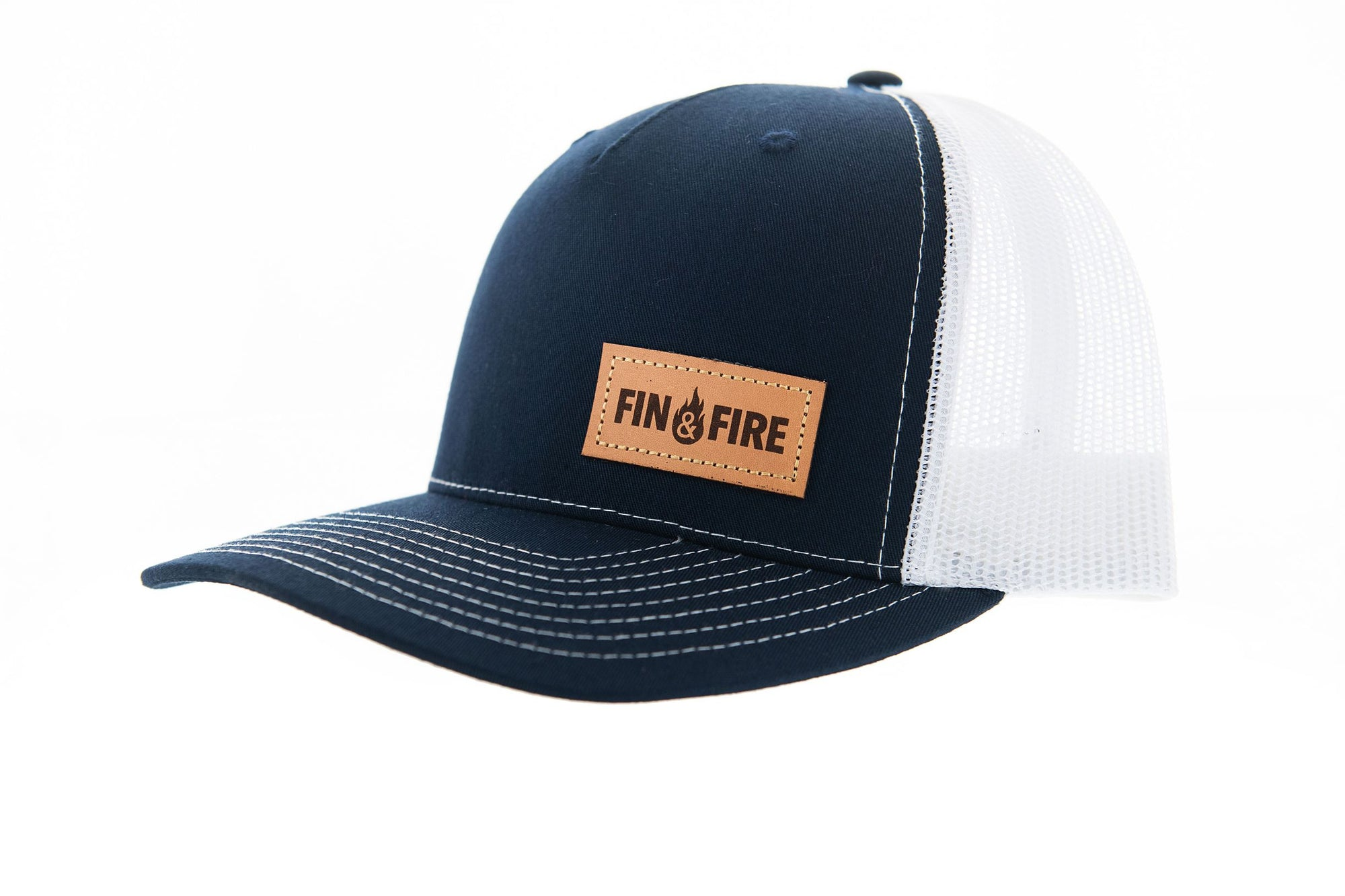 Fin & Fire Logo Hat: Navy/White