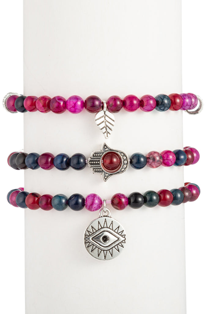 Toya Beaded Bracelet Set - Red Agate