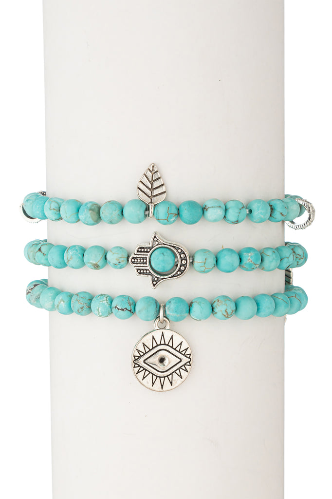 Toya Beaded Bracelet Set - Turquoise