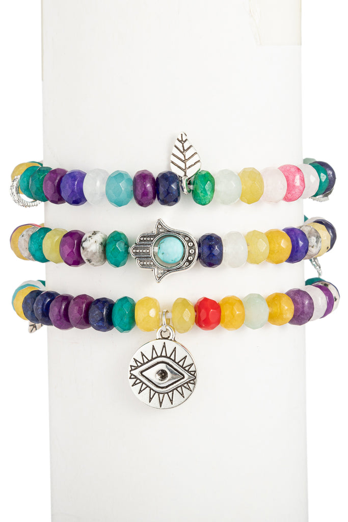 Toya Beaded Bracelet Set - Faceted Rainbow Agate