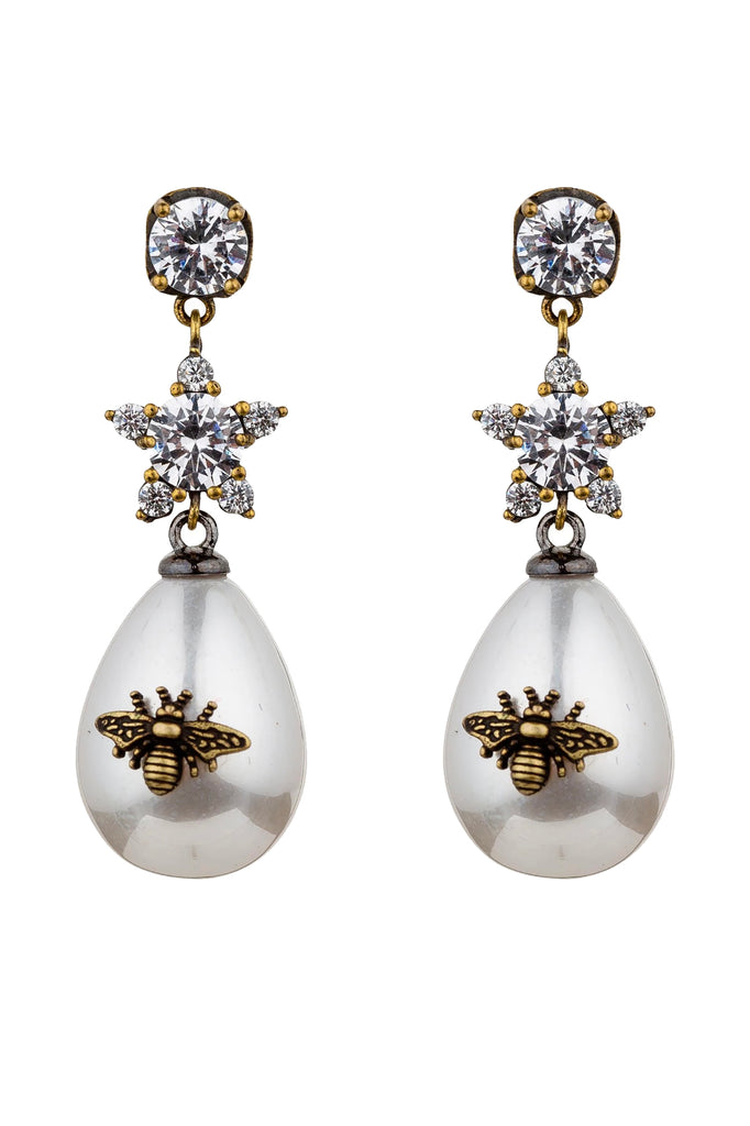 Abeja Fresh Water Bee Pearl Cubic Zirconia Statement Earrings