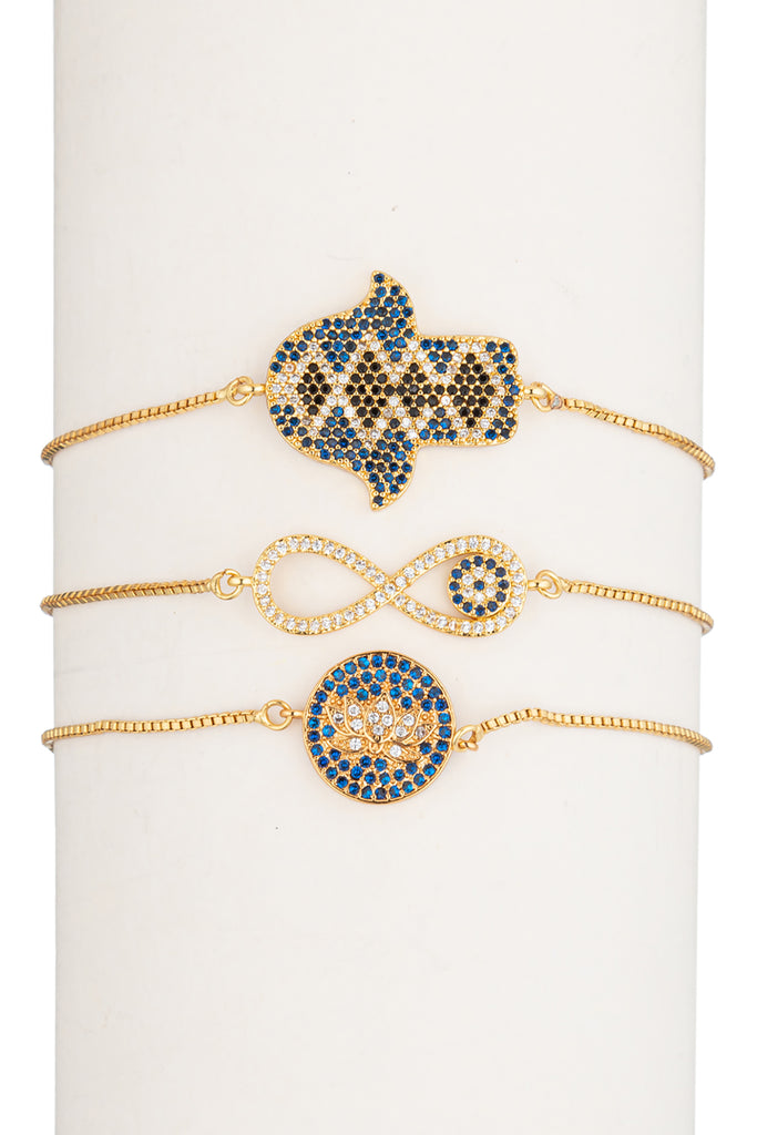 Infinite Lotus Hamsa Gold Bracelet Set