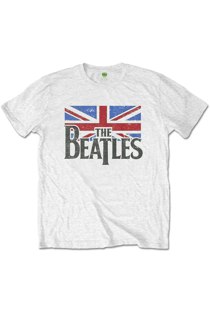 The Beatles white logo & vintage flag t-shirt.