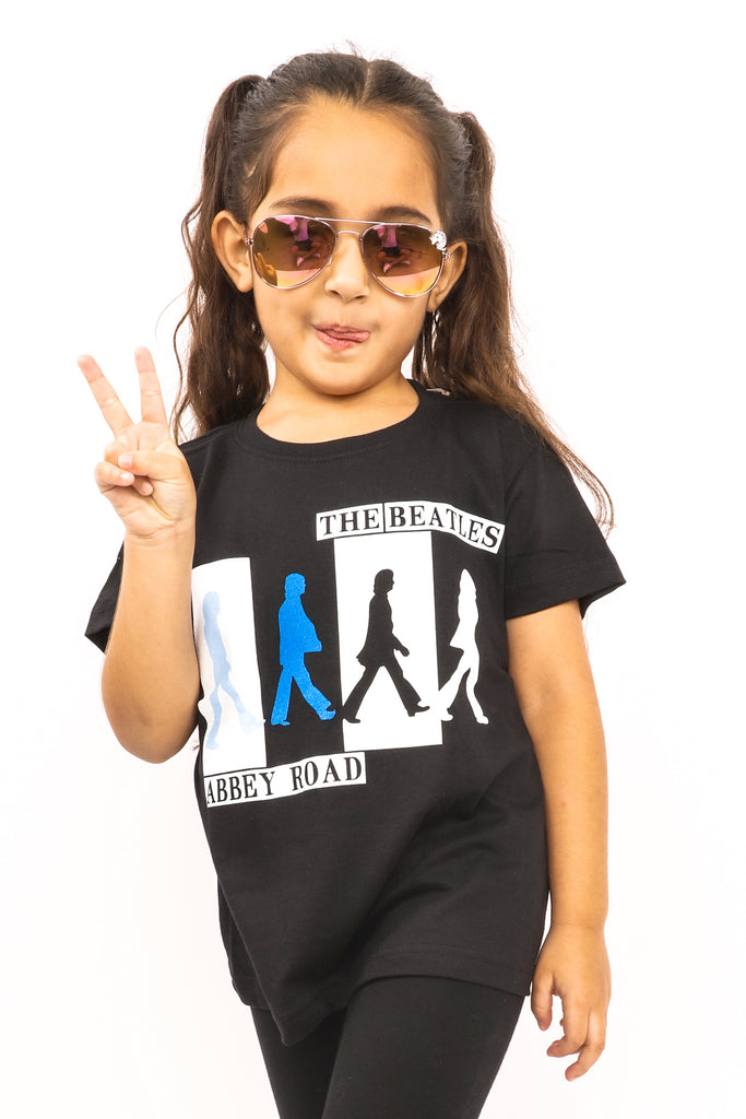 Kid's The Beatles T-Shirt - Abbey Road - Black (Boys and Girls)