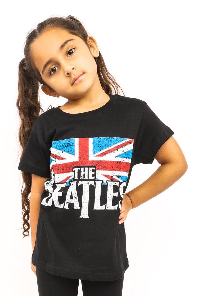 Kid's The Beatles T-Shirt - Logo & Vintage Flag - Black (Boys and Girls)