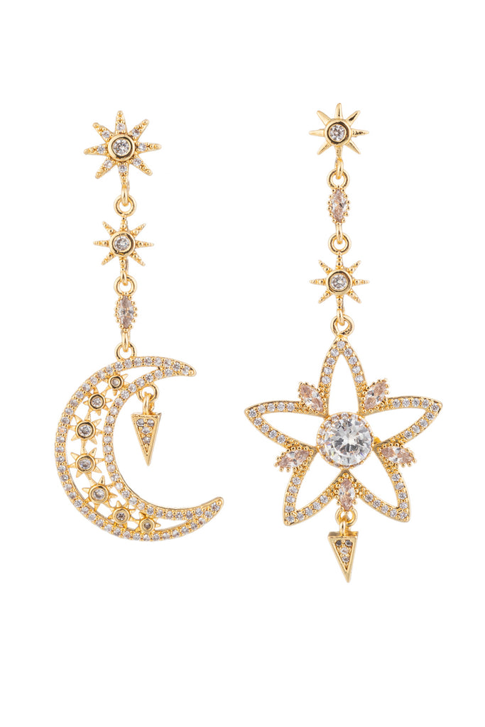 Gold star and crescent moon dangling earrings studded with CZ stones.