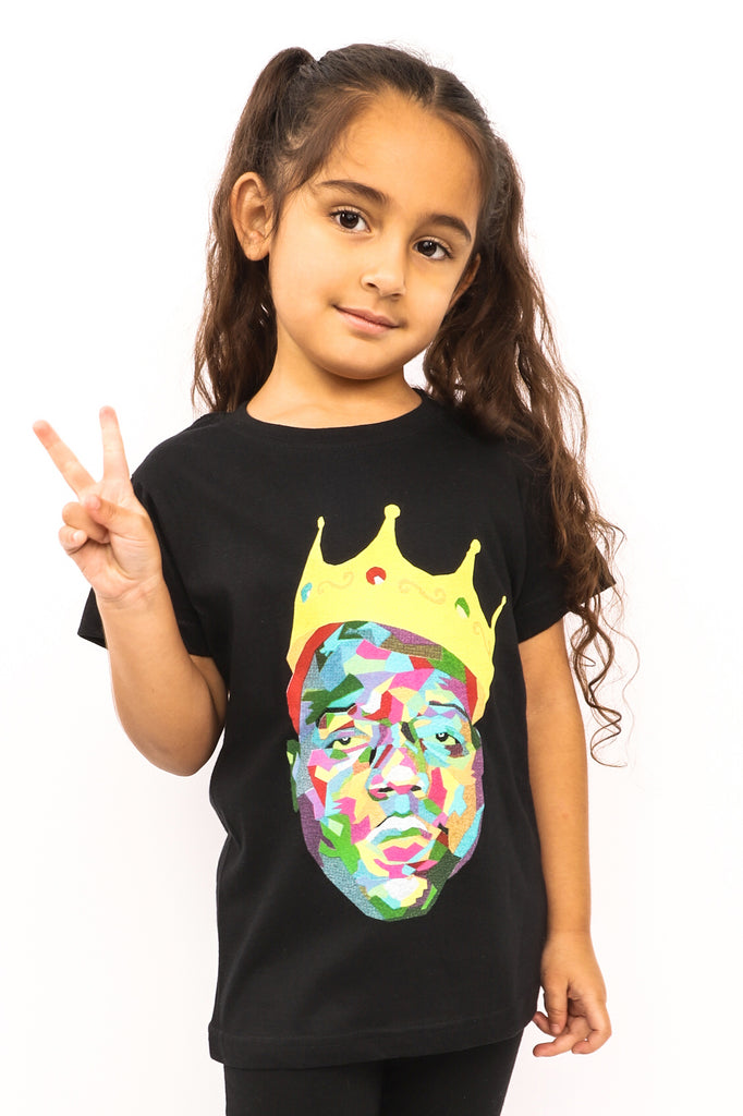 Kid's Biggie T-Shirt - Crown - Black (Boys and Girls)