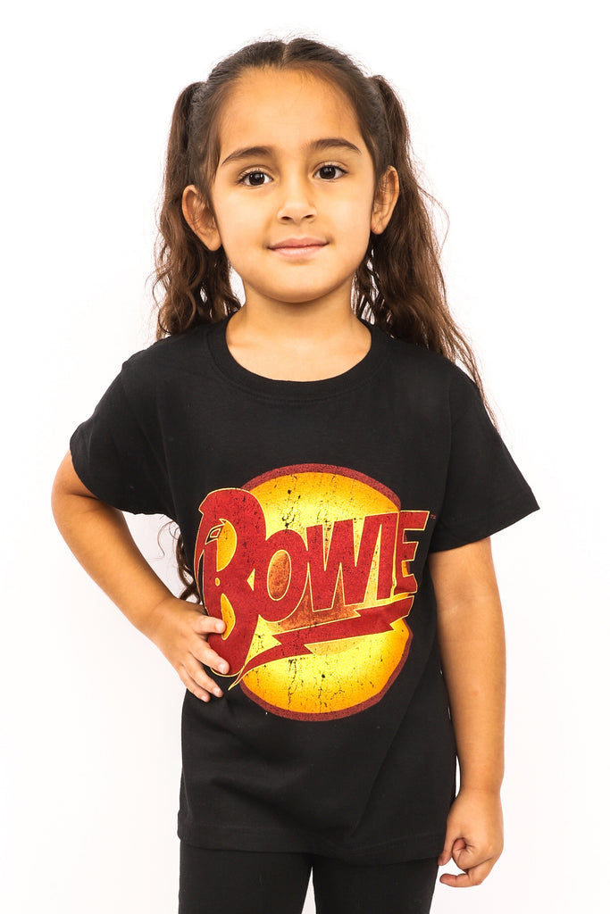 Kid's David Bowie T-Shirt - Diamond Dogs Vintage Logo - Black (Boys and Girls)