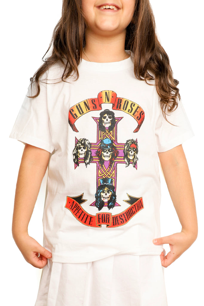 Kid's Guns' N Roses T-Shirt - Cross - White (Boys and Girls)