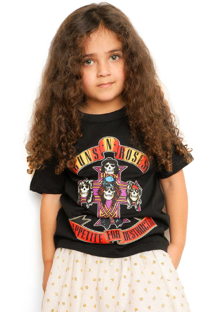 Kid's Guns' N Roses T-Shirt - Cross - Black (Boys and Girls)