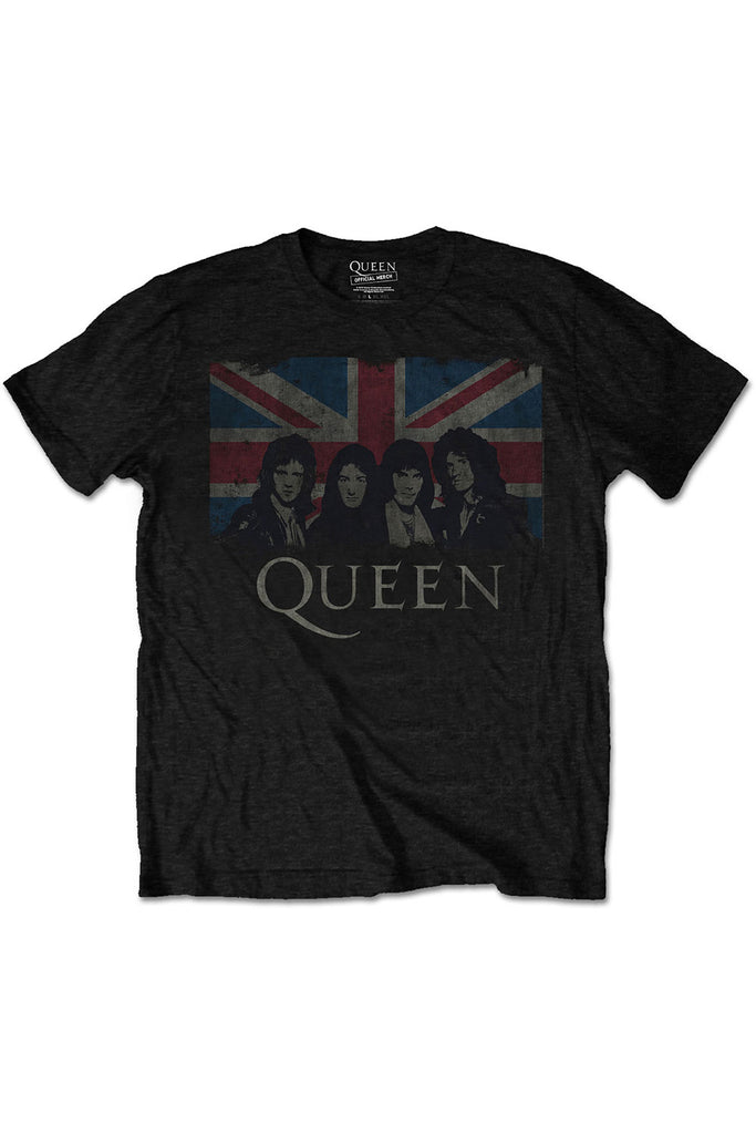 Kid's Queen T-Shirt - Vintage Union Jack - Black (Boys and Girls)