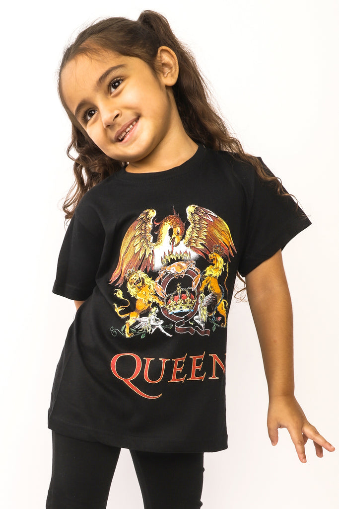 Kid's Queen T-Shirt - Classic Crest - Black (Boys and Girls)