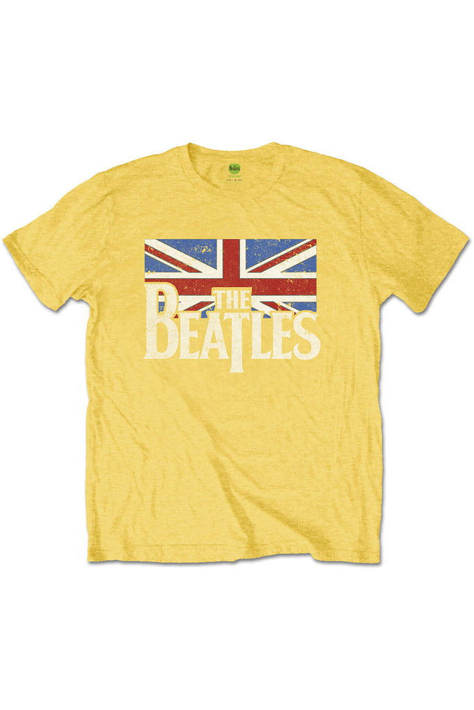 Kid's The Beatles T-Shirt - Logo & Vintage Flag - Yellow (Boys and Girls)
