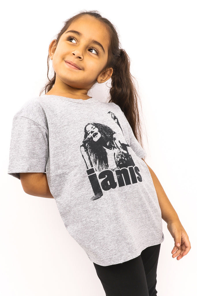 Kid's Janis Joplin T-Shirt - Heather Grey (Boys and Girls)