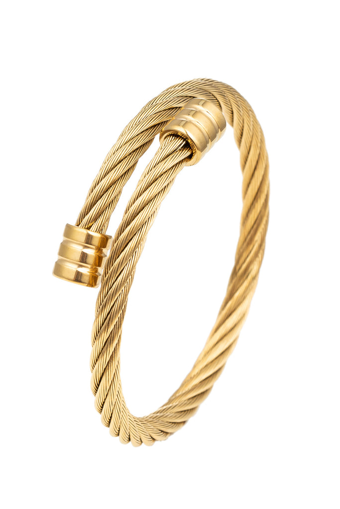 Gold titanium wire cable wrap cuff bracelet.