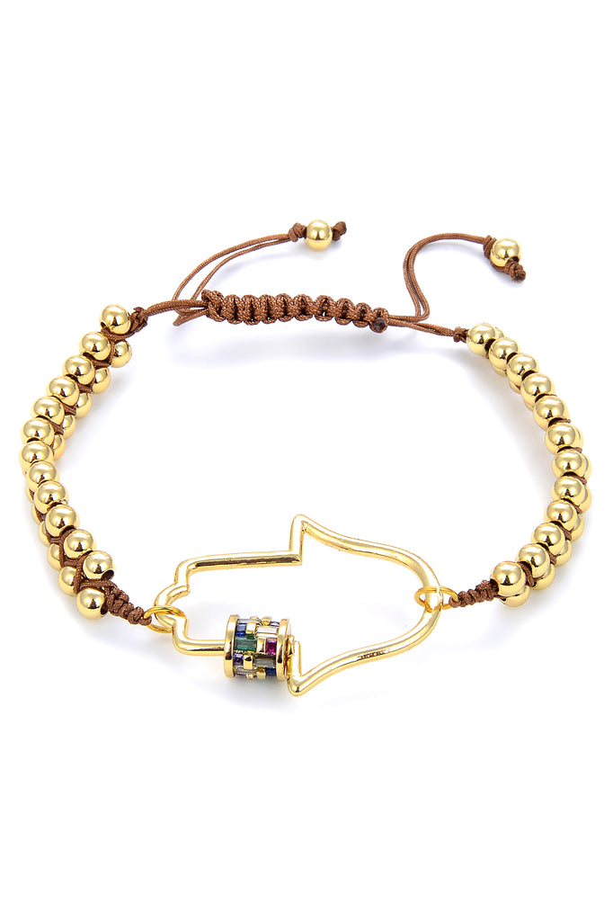 Hamsa Gold Beaded Bracelet