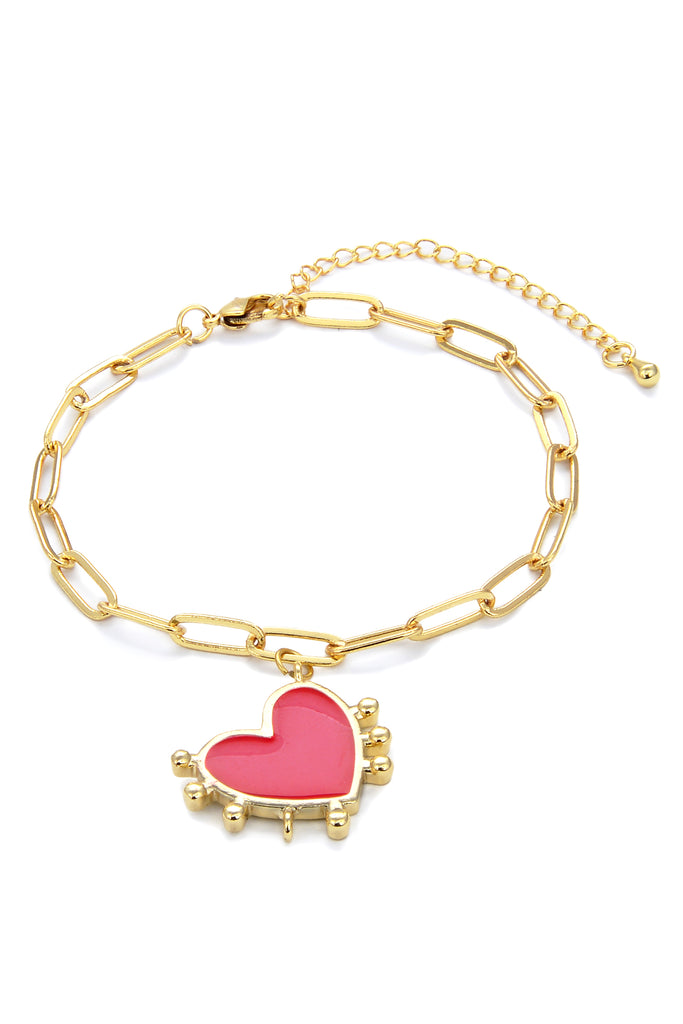 Red Heart Gold Chain Link Bracelet