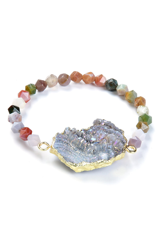 Druzy and Agate Beaded Bracelet