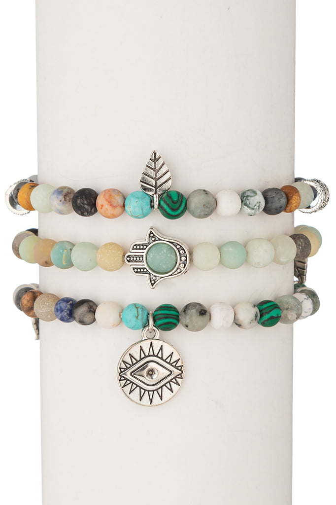 Toya Beaded Bracelet Set - Amazonite & Agate