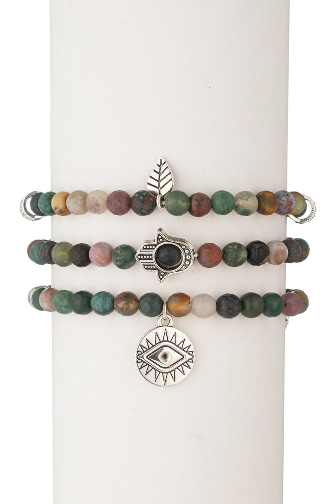 Toya Beaded Bracelet Set - Green Agate