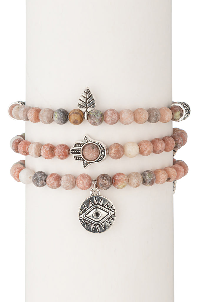 Toya Beaded Bracelet Set - Pink Agate