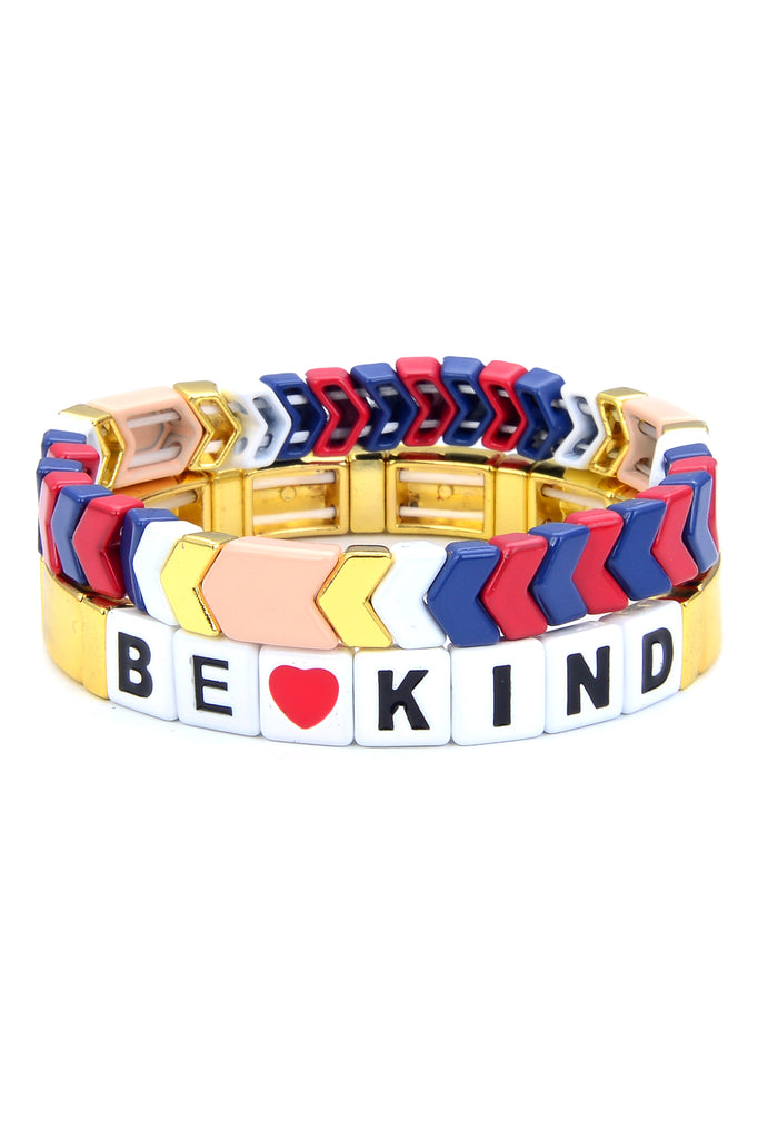 "2 piece enamel bead stretch bracelet set. First bracelet features blue, red and gold chevron tile beads. Second bracelet features square shiny gold tiles and ""be kind"" phrase written in black with white tile beads."
