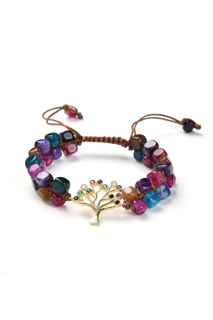 Tree Cubic Zirconia Cube Beaded Bracelet