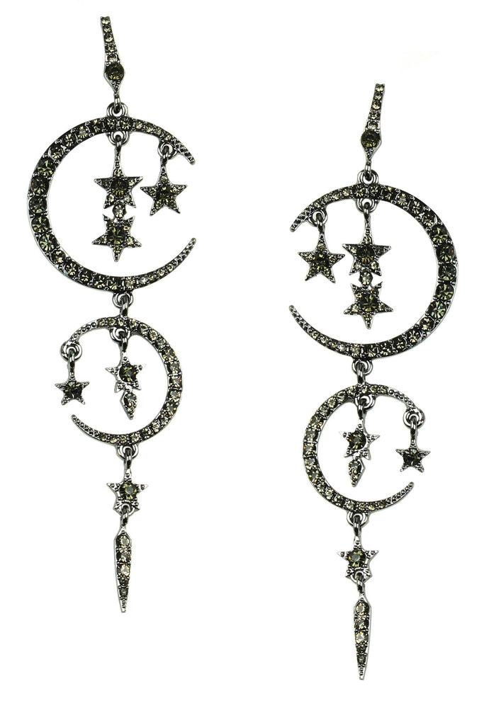 Moon Drop Earrings - Black