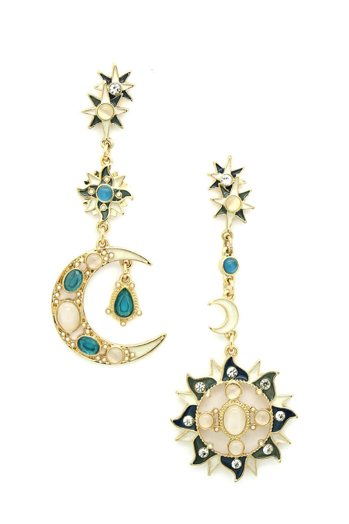 Sun & Moon Earrings - Gold