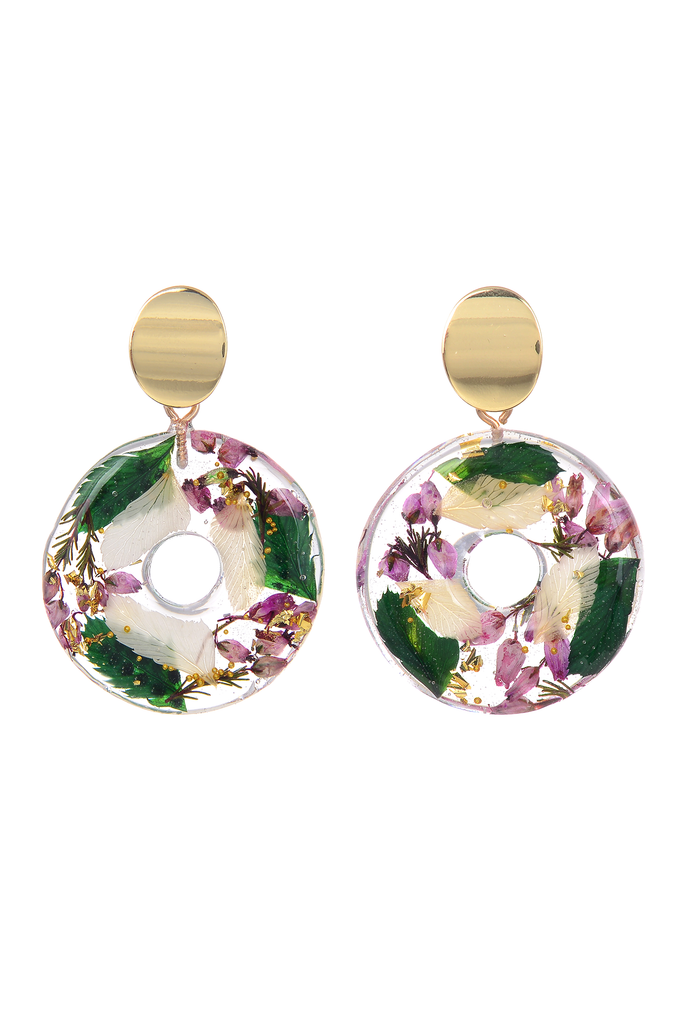 Floral Resin Earrings - Purple