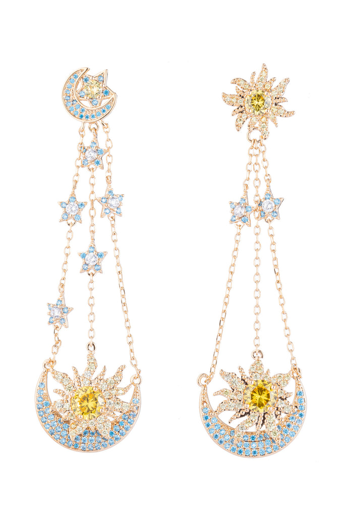 Golden star 18k gold plated drop earrings.