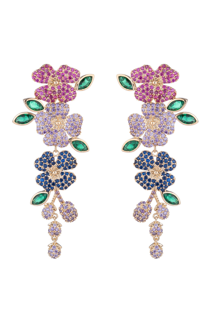 Flower drop earrings student with CZ crystals.