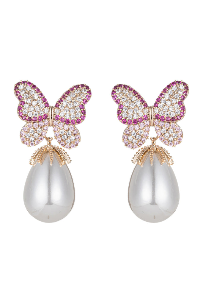 Pink butterfly wing glass pearl earrings with CZ crystals.