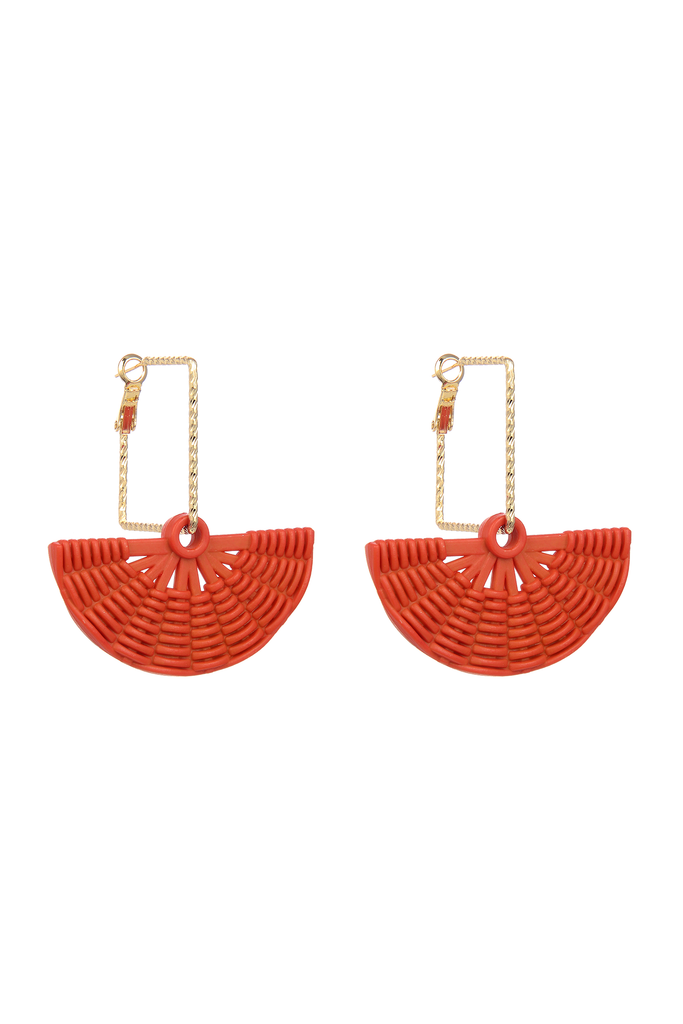 Cynthia Fan Earrings - Orange