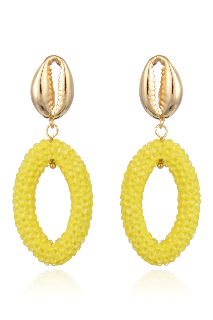 Jeanie Shell Earrings - Yellow