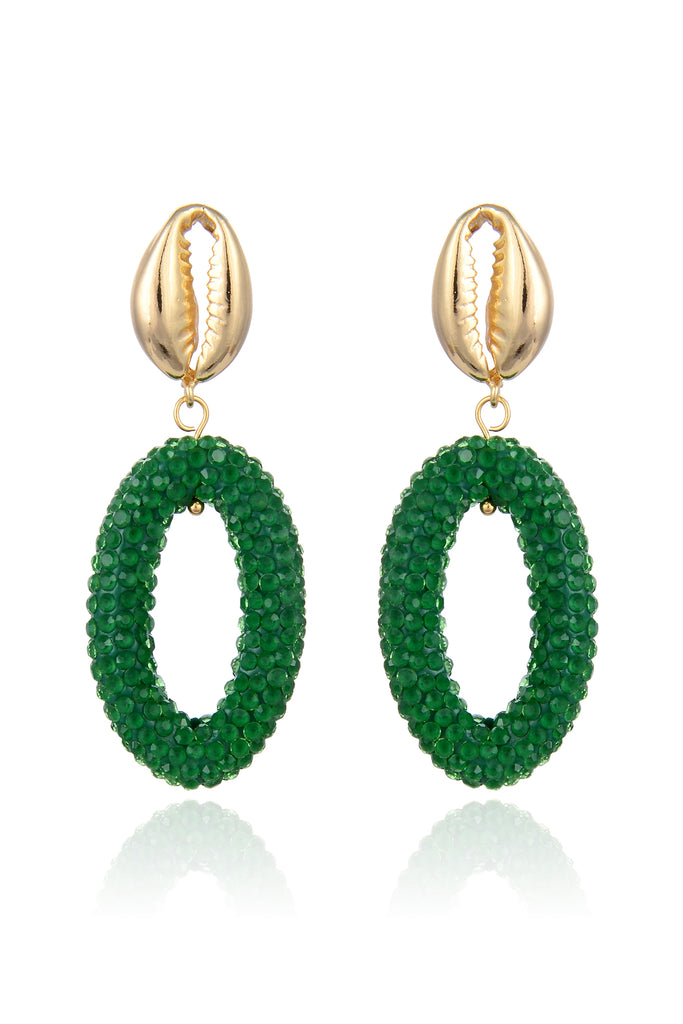 Jeanie Shell Earrings - Green
