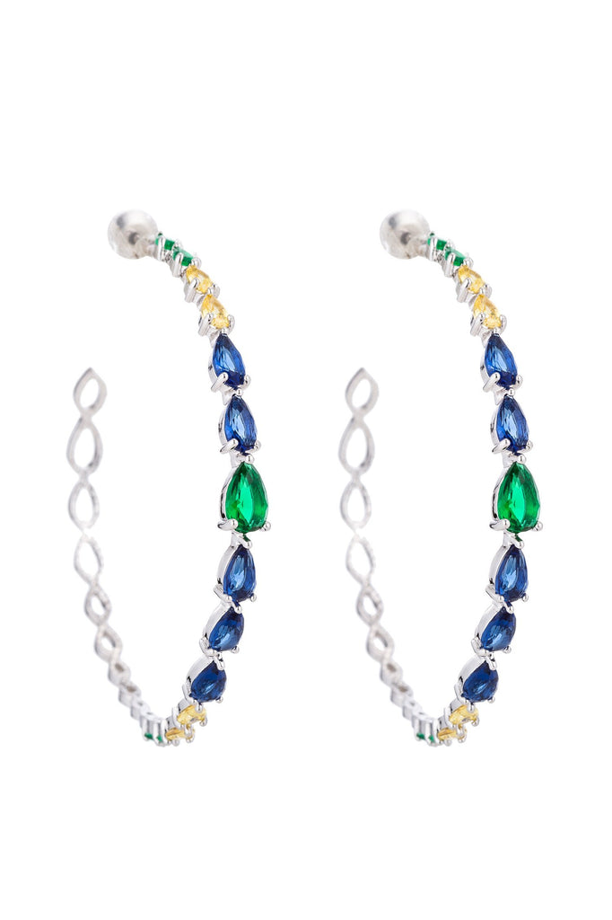 Veena CZ Crystal Hoop Earrings