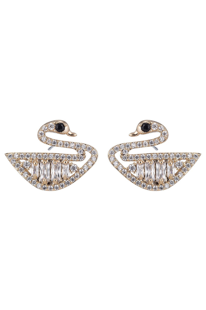 Cute pair of swan stud earrings studded with shiny cubic zirconia stones.