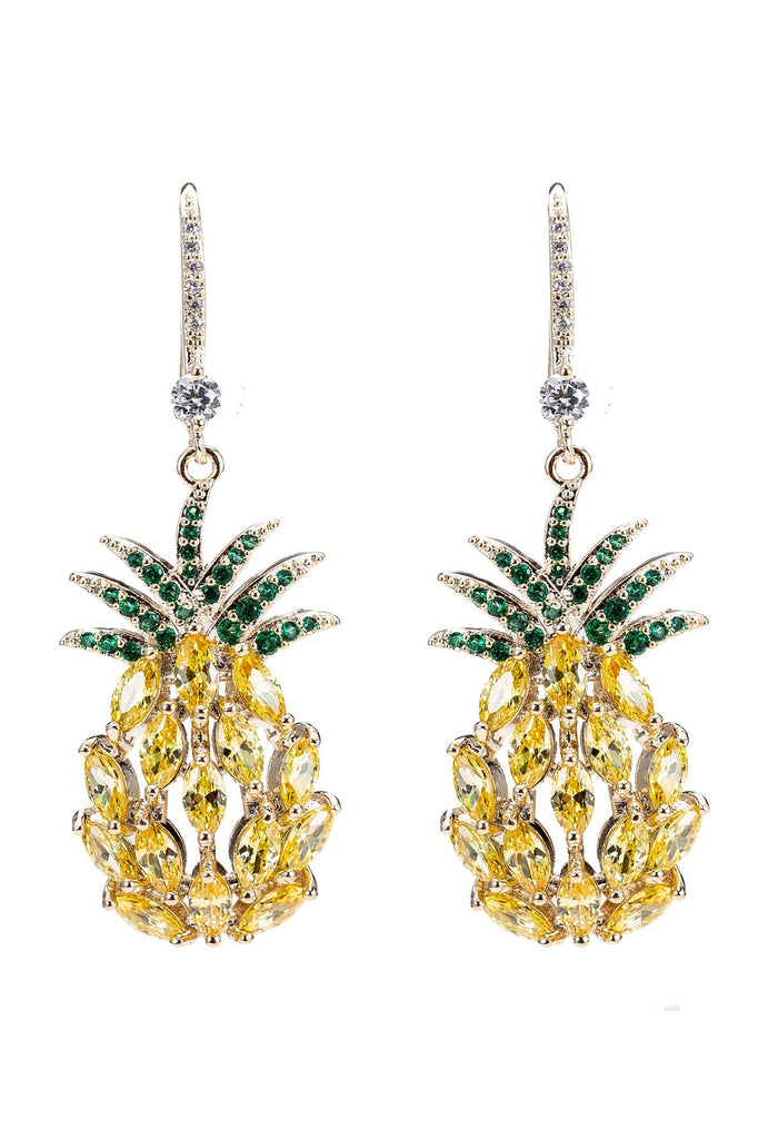 Abacaxi Gold Plated Pineapple Cubic Zirconia Statement Drop Earrings