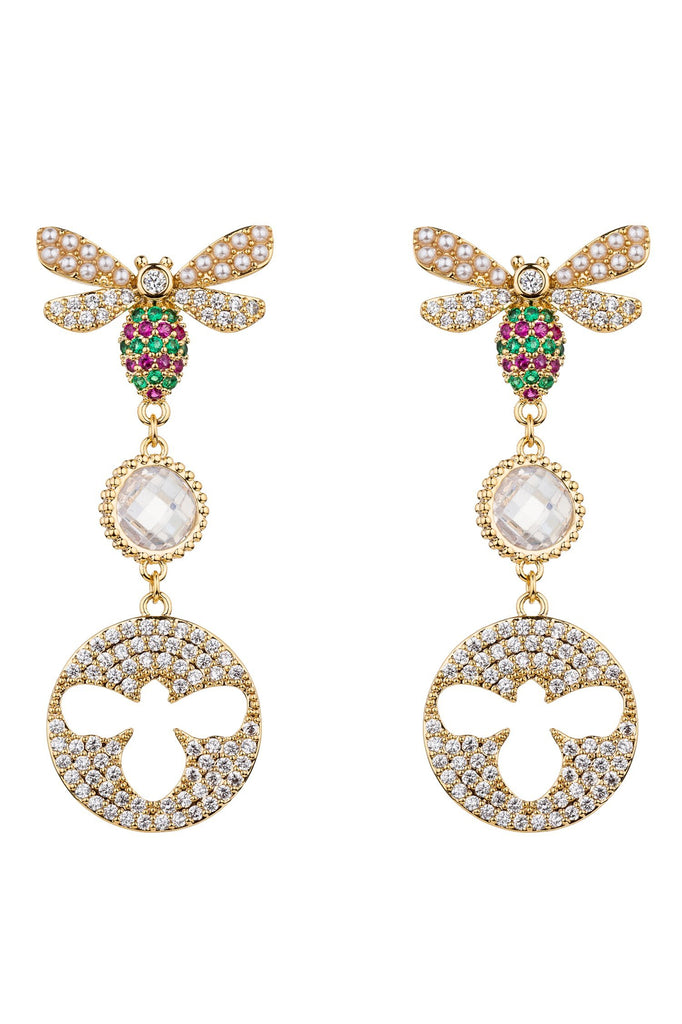 Adrena 18k Gold Plated Cubic Zirconia Bee Earrings