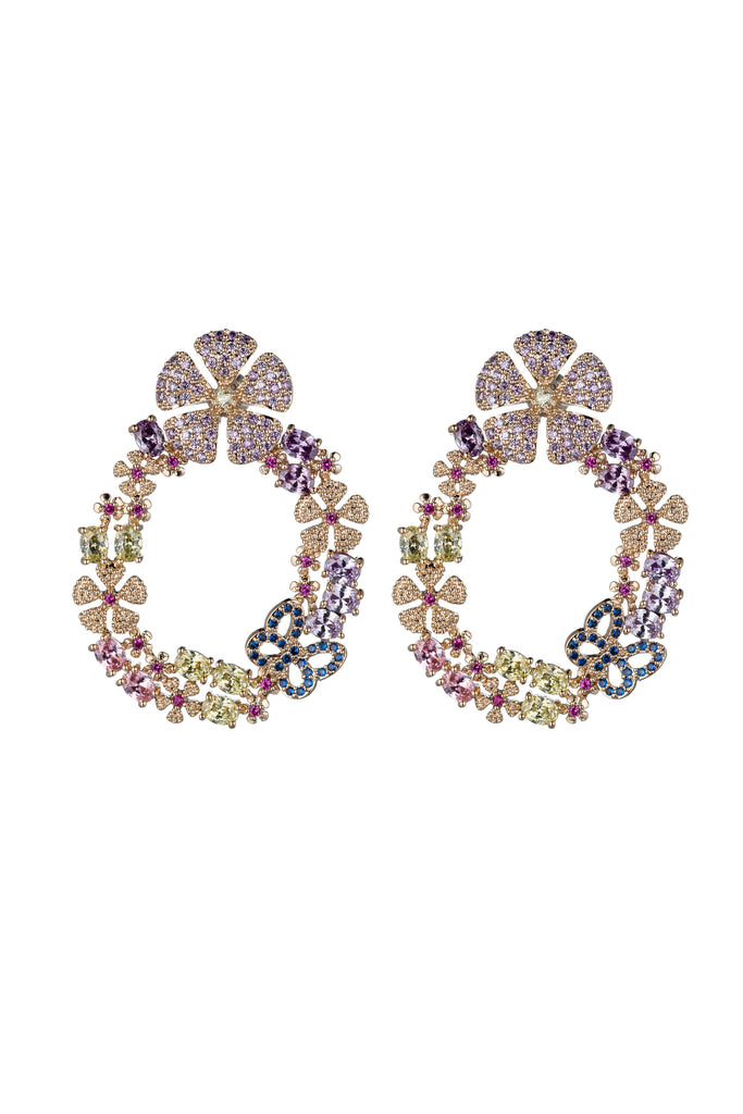 Butterfly flower statement earrings studded with CZ crystals.