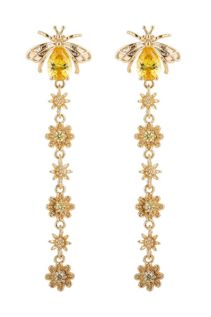 Pair of yellow bee earrings with chain link hanging from tail end of bee. Chain features gold cubic zirconia flowers.