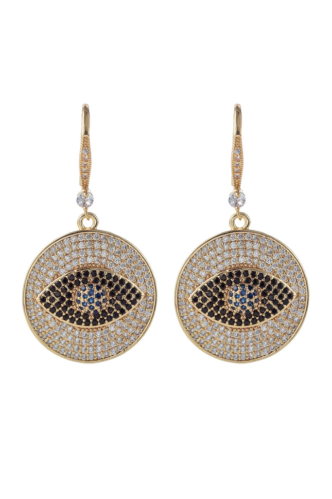 18k gold plated evil eye earrings studded with CZ crystals.