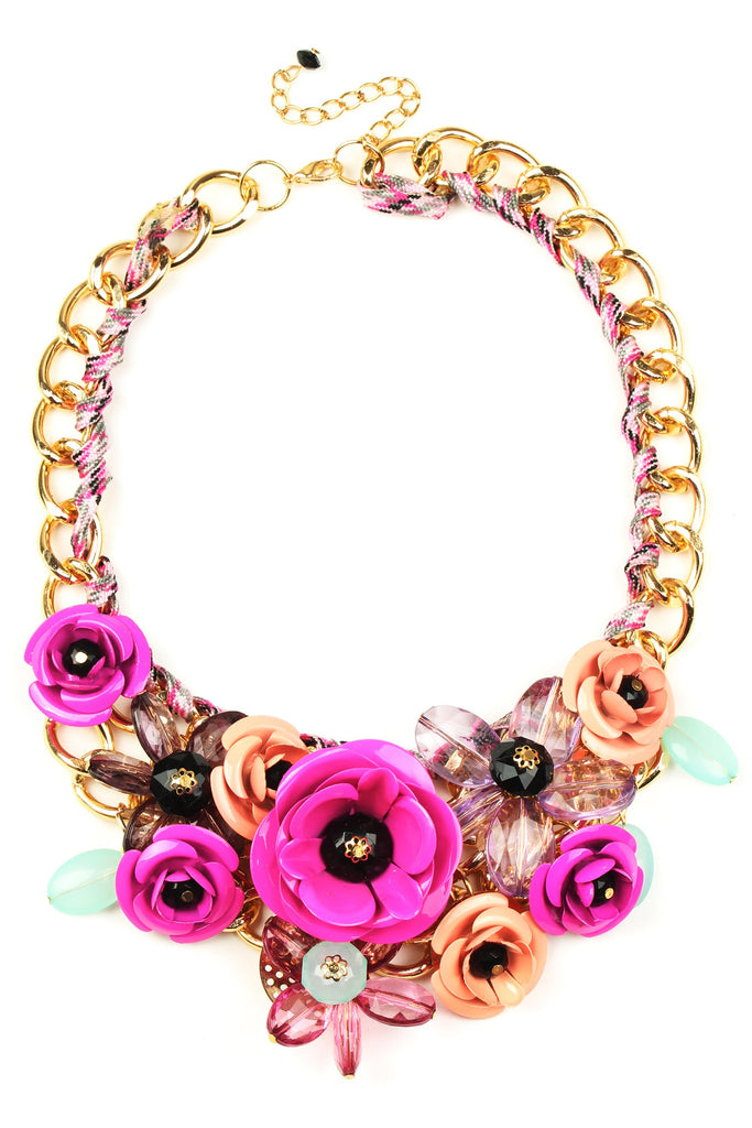 Bouquet Statement Necklace - Fuschia