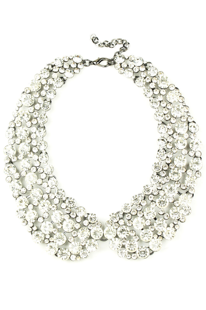 12 inch collar necklace with circular white crystals arranged in collar pattern.